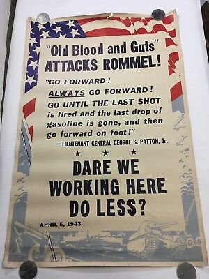 ORIGINAL 1943 Vintage WW2 WWII US POSTER Old Blood and Guts attacks Rommel (i98)
