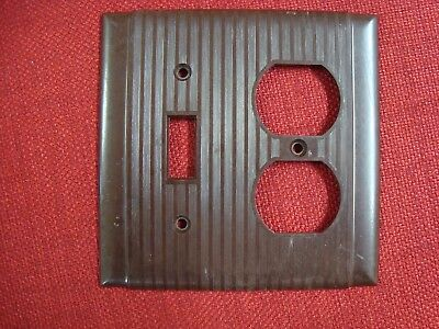 VTG UNILINE BRYANT BAKELITE OUTLET Single TOGGLE SWITCH PLATE COVER Ribbed Brown