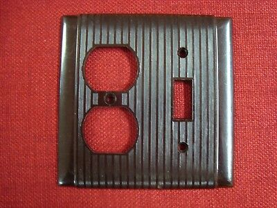 VTG UNILINE P&S BAKELITE OUTLET & Single TOGGLE SWITCH PLATE COVER Ribbed Brown