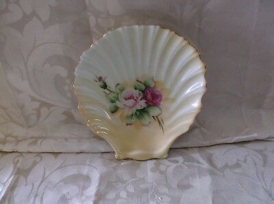 Vintage Lefton China Shell Plate w/Flowers Handpainted