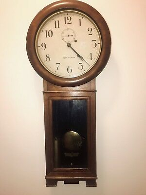 Rare Antique Seth Thomas B&o No. 2 Regulator Oak Wall Clock.