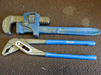 """Record  12"""" Stilsons  &  Workzone  Box  Joint  Pipe Wrench. Very Good Condition."""