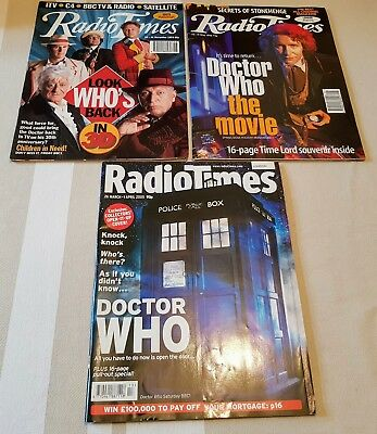 Doctor Who Radio Times - 3 Different Issues 30th Anniversary 8th Dr New Series!
