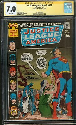 Justice League of America #86 CGC 7.0 FN/VF JLA SIGNED BY NEAL ADAMS DC Comics