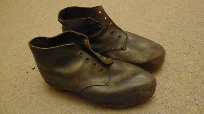 Original  Vintage Leather Lancashire Clogs With Wooden Soles and Metal Skegs