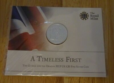 Royal Mint Pack George & Dragon 2013 UK £20 Fine Silver Coin - A TIMELESS FIRST