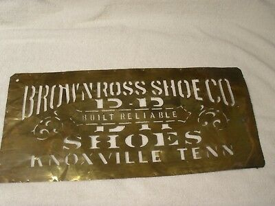 large Antique Brass Crate Stencil Sign BROWN-ROSS SHOE CO , Knoxville  TN
