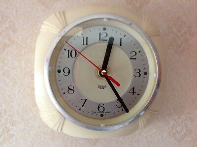 Smiths Sectric Art Deco style small wall clock (battery power converted)