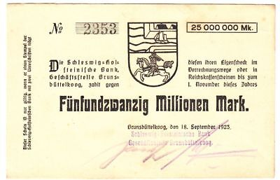002 Brunsbüttelkoog, Bank, 25Mio.Mark, 18.9.23