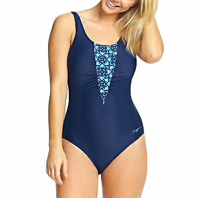 Zoggs Women Craftwork Wrap Front Swimsuit Sizes 18 or 20 BNWT RRP £42 Navy//Multi