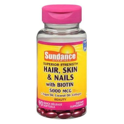 5 Pack Sundance Hair, Skin & Nails with Biotin 5000mcg per 90 Softgels