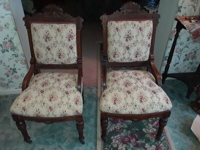 2 Antique Needle Point Mahogany Hand Carved Victorian Parlor Chairs Buy 1 Or Bot