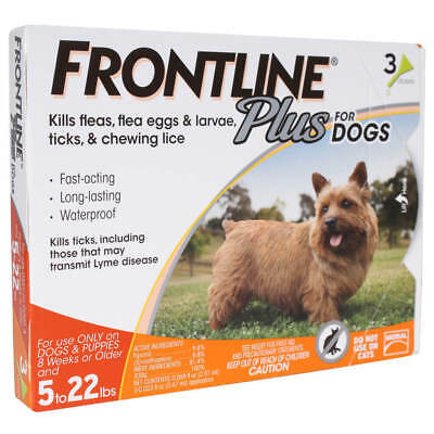 FRONTLINE Plus Flea and Tick Control for 5-22 lbs Dogs - 3 Doses (Sealed)
