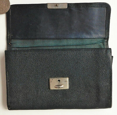 Vintage green leather wallet notebook holder early 20th century WW1 1910s 1920s