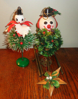 """2 Vintage Plastic Snowman Wind Chime 13"""" and 6.25"""" Standing Christmas Ornament"""