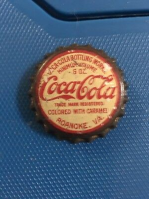 Early Roanoke Va Cork Lined Coca Cola Bottle Cap Colored with Caramel