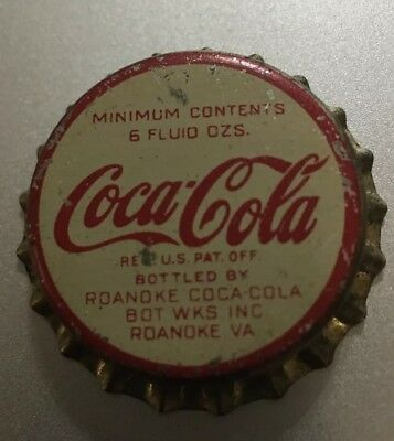 Roanoke Va Bot Wks Cork Lined Coca Cola Bottle Cap