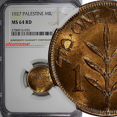 Palestine Bronze 1927 1 Mil GRADED NGC MS64 RD FULL BRIGHT RED  KM# 1