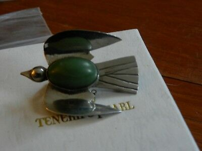 Vintage Sterling Silver Mexican Thunderbird Brooch With Green Stone