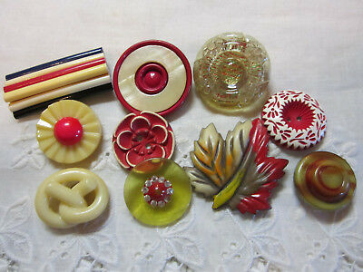 Fun Lot Vintage Red / Cream Colorful Celluloid Buttons/ Large Leaf +