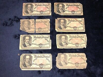 Collection Of *8* 50 Fifty Cents Fifth Issue Fractional Currency Notes