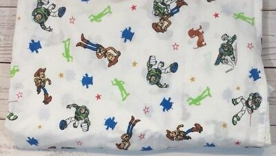 Vintage Toy Story Pixar Toddler Crib Bed Flat Sheet Woody Buzz Bedding Fabric