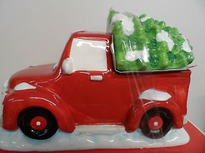 Retro Red Truck Christmas Cookie Jar--So Very Cute--Brand New