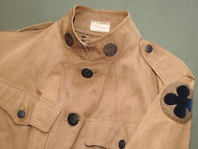 US Army WW1 88TH INFANTRY DIVISION BADGED M-1912 KHAKI SUMMER TUNIC Vtg Jacket