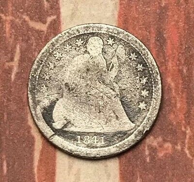 1841-O 10C Seated Liberty Dime 90% Silver Vintage US Coin #LX55
