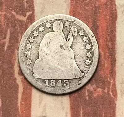1843 10C Seated Liberty Dime 90% Silver Vintage US Coin #LX56