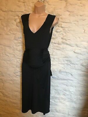black maternity bump hugging  party cocktail dress with tie detail size 14 16