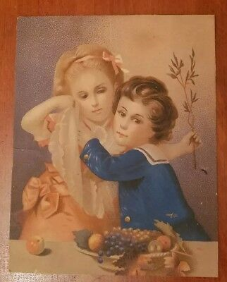 Vintage Art Print, early 1900s Boy Girl with Fruit