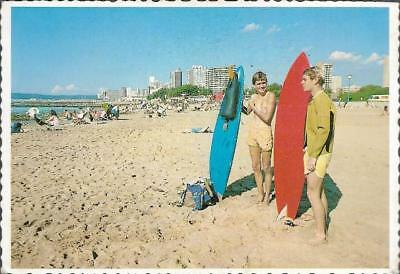 Durban, South Africa - Surfers on North Beach, surfing - postcard c.1960s