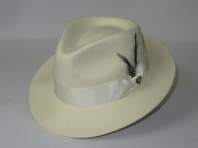 Mens Bruno Capelo Dress Hat Australian Wool Fedora Tear Drop Fabio Off White New