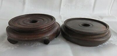 """Two 4"""" Oriental Chinese Japanese Wooden Lamp Bases"""