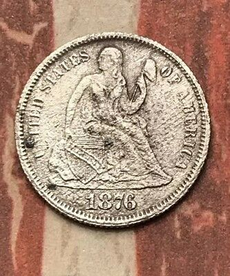 1876-S 10C Seated Liberty Dime 90% Silver Vintage US Coin #LX58