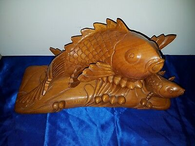 Alte Figur Skulptur Koi Japan Large Mid Century Wooden Koi Fish Carved Statue