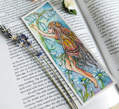 "Original Bookmark Watercolor Painting ""Reaching Out"" Fairy Girl Art by Patricia"