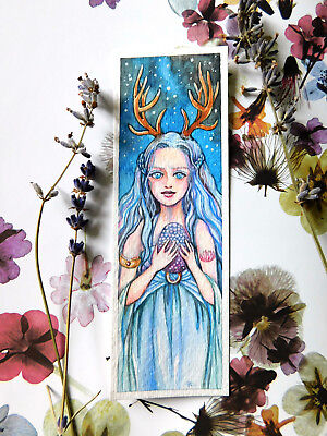 Original Bookmark Watercolor Painting Hope Fantasy Antler Girl Art by Patricia