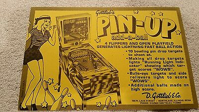 Gottlieb Pin-Up. Pinball Machine Sales Flyer Brochure. Bally. Williams