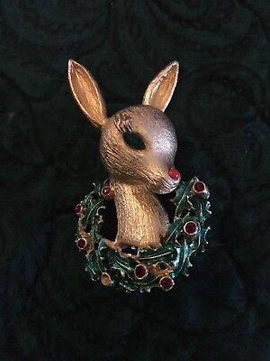 Vintage Signed Mylu Rudolph the Red Nosed Reindeer Christmas Pin Brooch