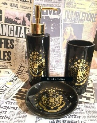 Primark Harry Potter Bad Set 3 tlg Seifenspender Seifenschale Zahnputzbecher neu