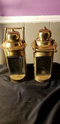 2 Nautical Cargo Cabin Lamp Light Ship antique Salvaged Brass SS City of Erie