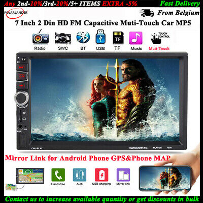 7''2Din Car MP5 Bluetooth FM/TF/USB/AUX Radio Stereo Mirror Link for Android GPS