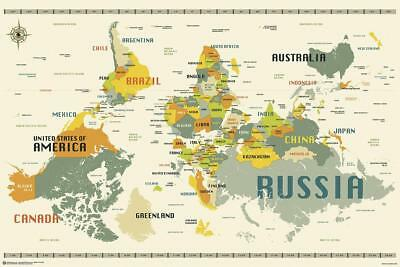 World Map Upside Down Poster by Jazzberry Blue 91,5 x 61 cm
