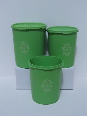 3 Tupperware Green Apple Servalier Canisters 809 807 2 Seals