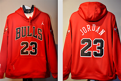 separation shoes aa0bf 96a51 MICHAEL JORDAN CHICAGO Bulls Jersey Hooded Sweatshirt Embroidered Hoodie  Mens L