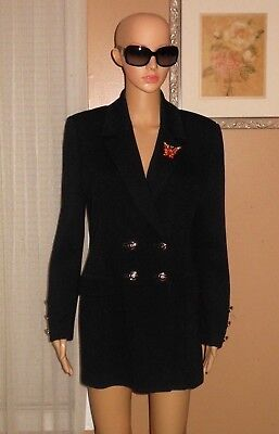 ST. JOHN COLLECTION by Marie Gray DBL Breast Black Santana Knit Blazer Jacket 8