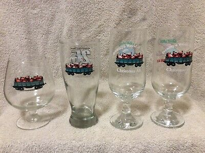 4 different Great Lakes Brewing Co. Cleveland Christmas Ale Beer Glasses lizard