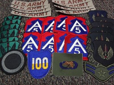 US Army A5 WWII USAF Pilot Combat Command Star Ranked Military AF OD Patch Lot